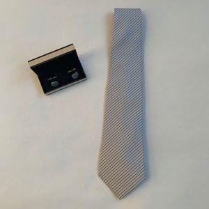 Giorgio Armani silk men's tie in stone blue